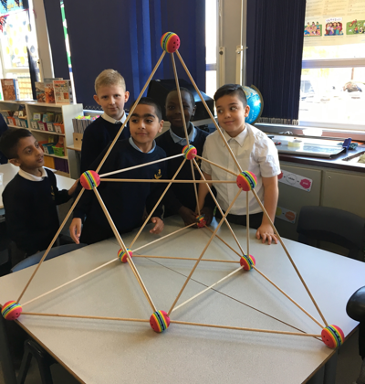 Year 6 boys with their tetrahedron