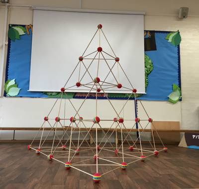 Giant tetrahedron made from 16 smaller ones